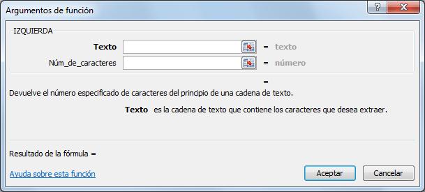 Sintaxis de la función IZQUIERDA en Excel