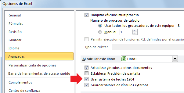 Usar sistema de fechas 1904 en Excel 2010