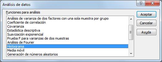 Herramienta Histograma en Excel 2010