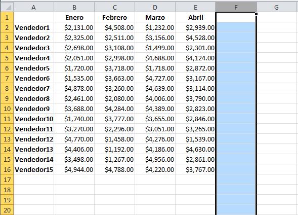 Delimitar el área de trabajo en Excel