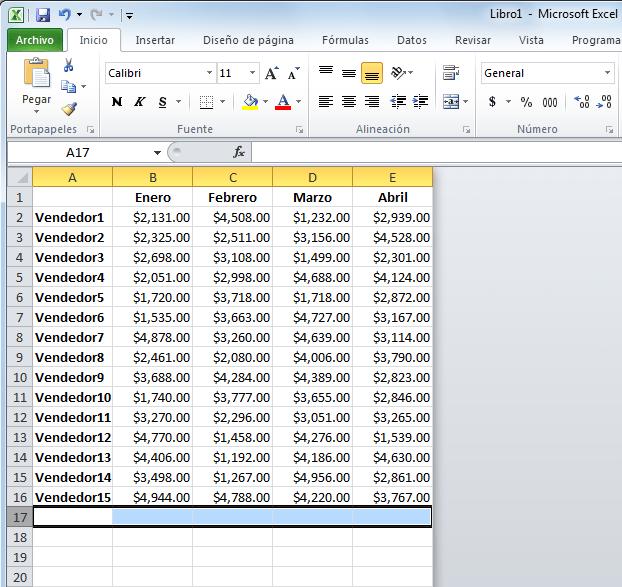 Restringir el área de trabajo en Excel