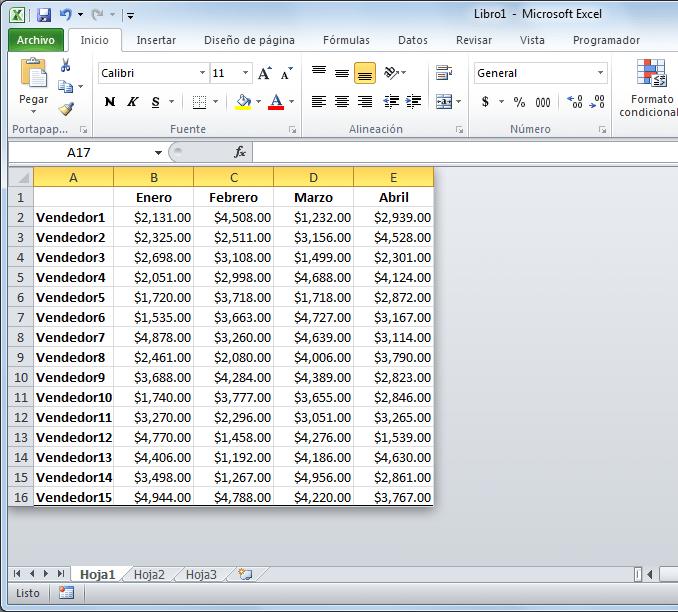 Ocultar filas y columnas en Excel