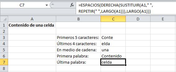 Extraer la última palabra en Excel