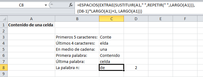 Extraer cualquier palabra en Excel