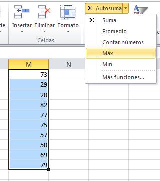 La función MAX en el comando Autosuma
