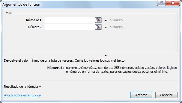 Sintaxis de la función MIN en Excel