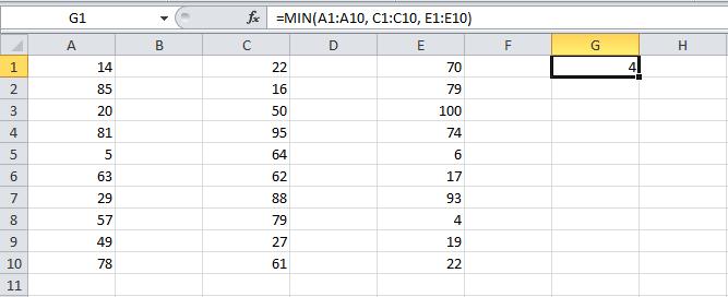 Valor mínimo en Excel con la función MIN
