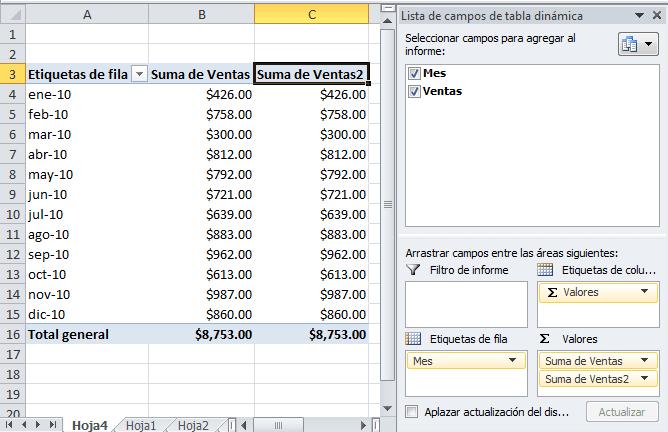 Calcular el porcentaje del total con una tabla dinámica - Excel Total