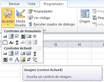 Control de imagen para catálogo de imágenes en Excel