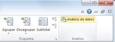Herramientas de análisis de datos en Excel 2010