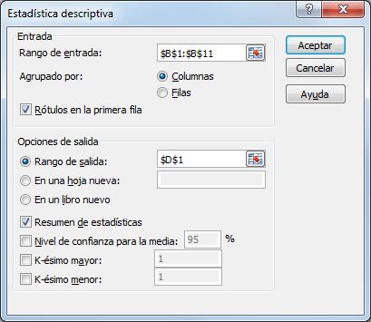 Cuadro de diálogo Estadística descriptiva en Excel