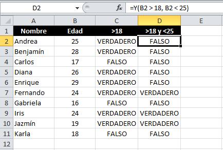 Expresiones lógicas en Excel con la función Y