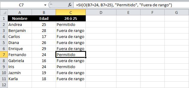 Expresiones lógicas en Excel con la función O
