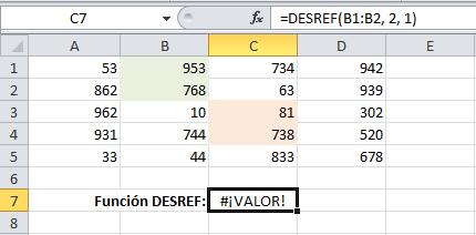 Error al mostrar el valor devuelto por la función DESREF en Excel
