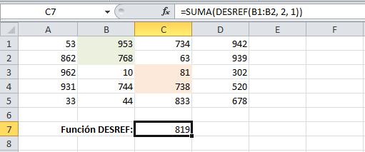 Sumando el rango devuelto por la función DESREF