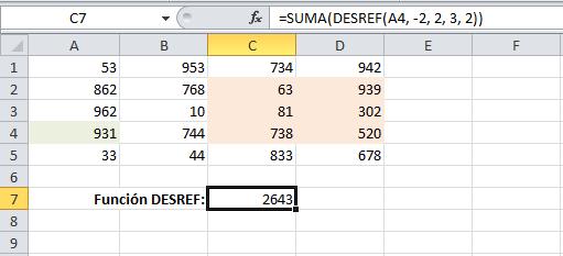 Ejemplo de la función DESREF