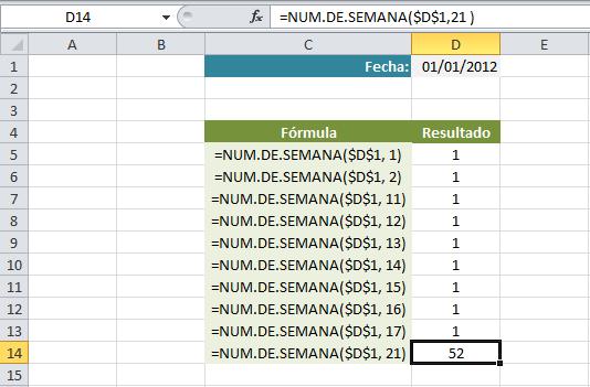 Ejemplos de la función NUM.DE.SEMANA en Excel
