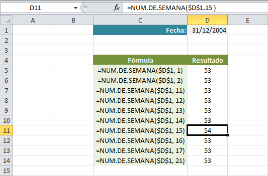Años de 54 semanas con NUM.DE.SEMANA en Excel