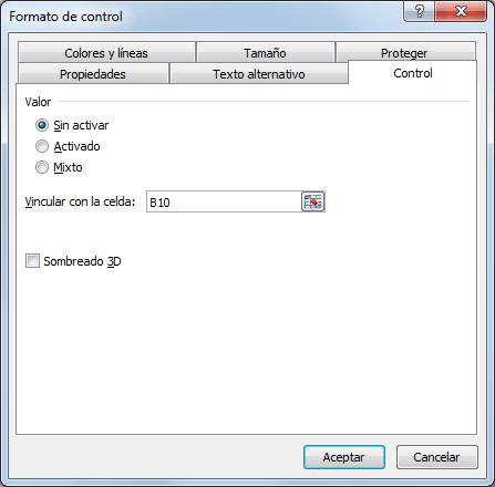 Cuadro de diálogo Formato de control