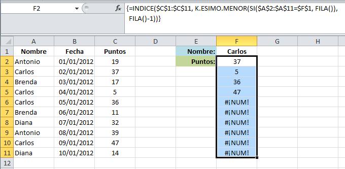 Buscar en Excel con varios resultados