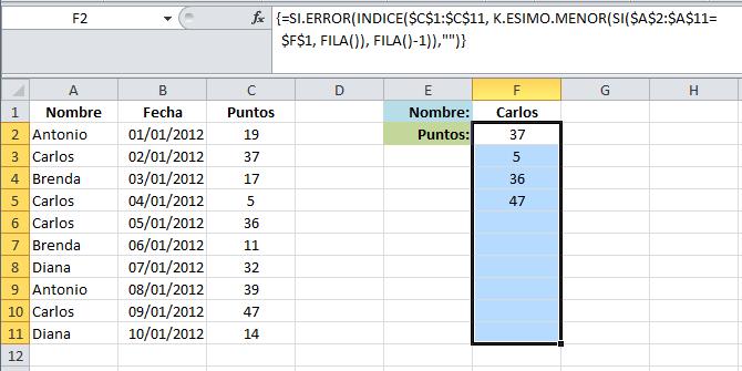 Fórmula en Excel para obtener varios resultados de búsqueda
