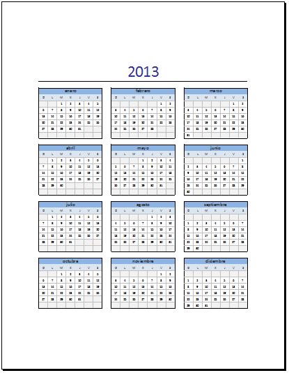 Calendario 2013 en Excel - Excel Total