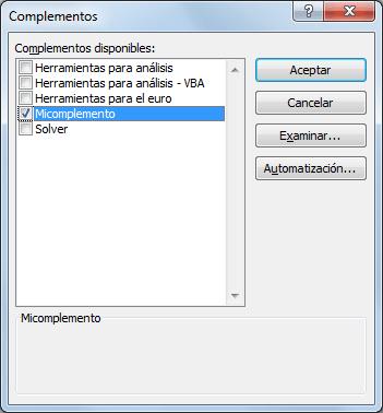 Cuadro de diálogo Complementos en Excel 2010
