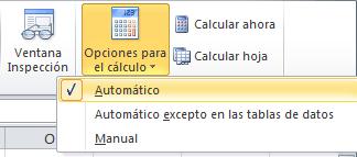 Cálculo automático de fórmulas en Excel 2010