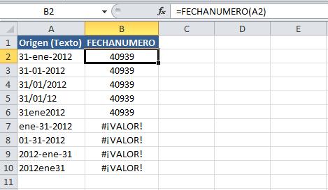 Convertir texto a formato fecha en Excel