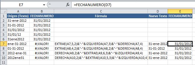 Texto a formato fecha en Excel con la función FECHANUMERO