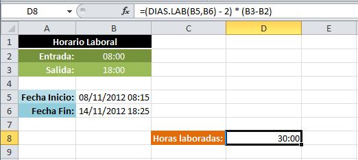calculo de dias habiles entre fechas