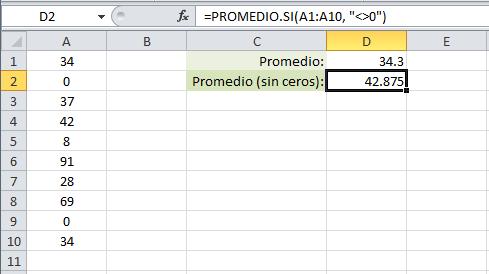 Excluir ceros del promedio en Excel
