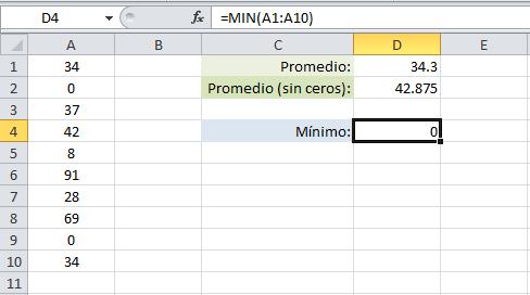 Obtener el valor mínimo excluyendo los ceros