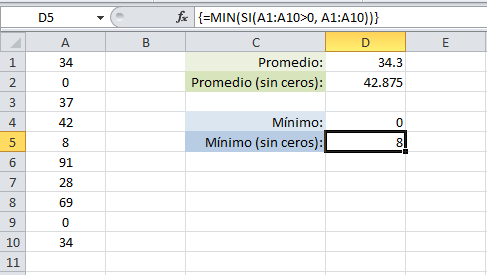 Valor mínimo sin considerar los ceros