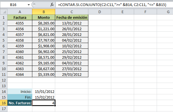 Contar los registros de excel entre dos fechas excel total for Como hacer una nomina en excel con formulas
