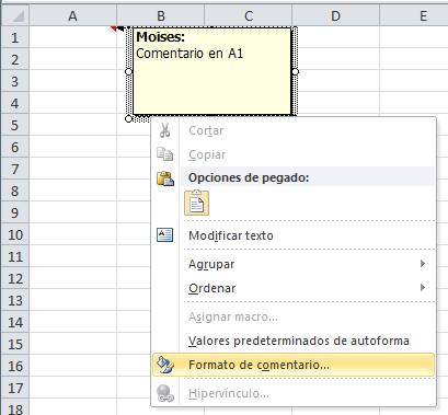 Cambar el color de fondo de un comentario de Excel
