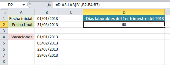 Función DIAS.LAB en Excel 2010
