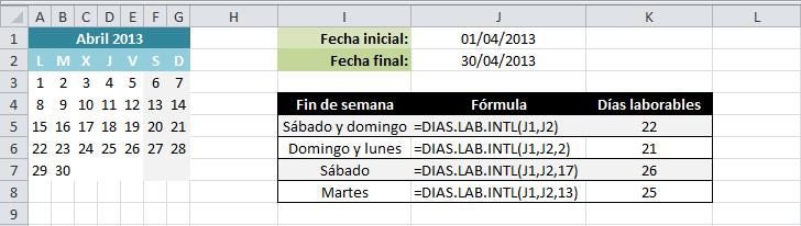 Ejemplo de la función DIAS.LAB.INTL en Excel