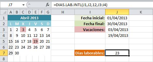 Función DIAS.LAB.INTL en Excel 2010