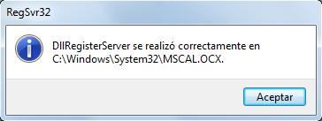 MSCAL.OCX registrado correctamente