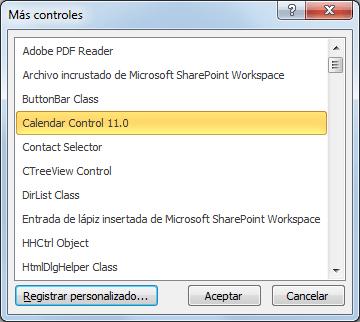 Calendar Control 11.0 en Excel 2010