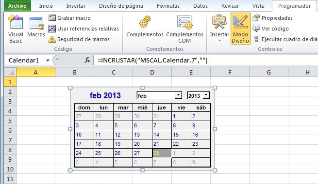 Control Calendario insertado en una hoja de Excel 2010