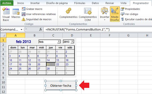 Usar el Control Calendario en Excel 2010