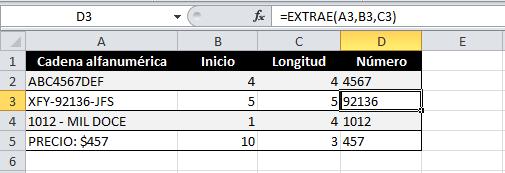 Ejemplo para extraer números de una celda