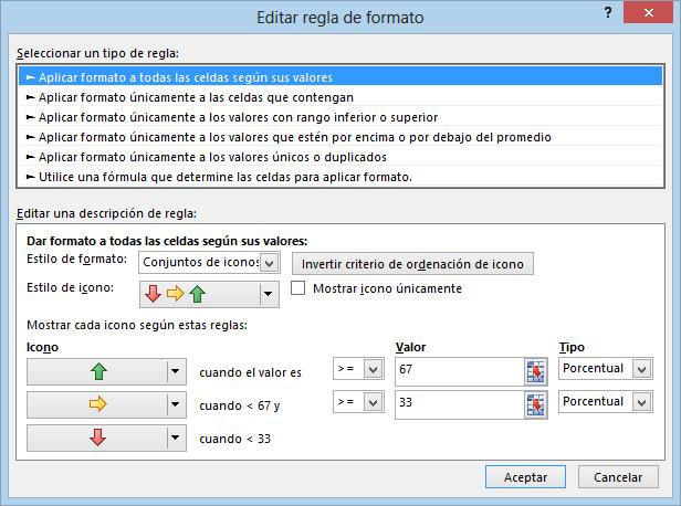 Formato condicional usando conjunto de iconos en Excel
