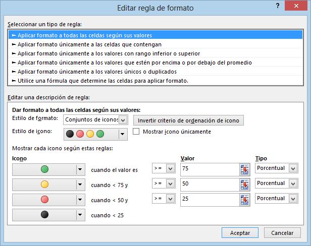 Regla de formato condicional de un conjunto de iconos