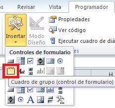 Control de formulario Cuadro de grupo en Excel