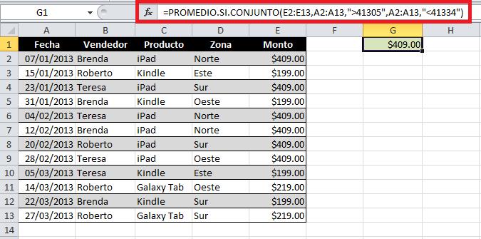 Sacar promedio con dos condiciones en Excel
