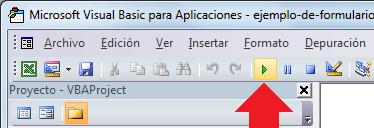 Botón ejecutar en la barra de herramientas del Editor VBA