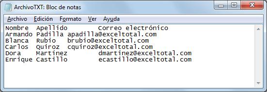 Exportar de Excel a TXT
